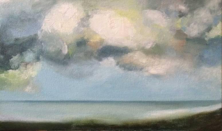 Margate Sea 5 oil on canvas, 25x40cm Julie Caves